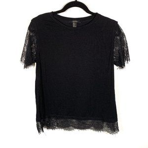 Forever 21 Black Lace Sleeves & Hem Top Size M